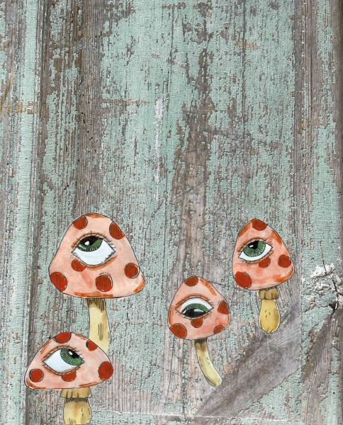 Interchangeable cover for handbag - psycho mushrooms - green/red - size S