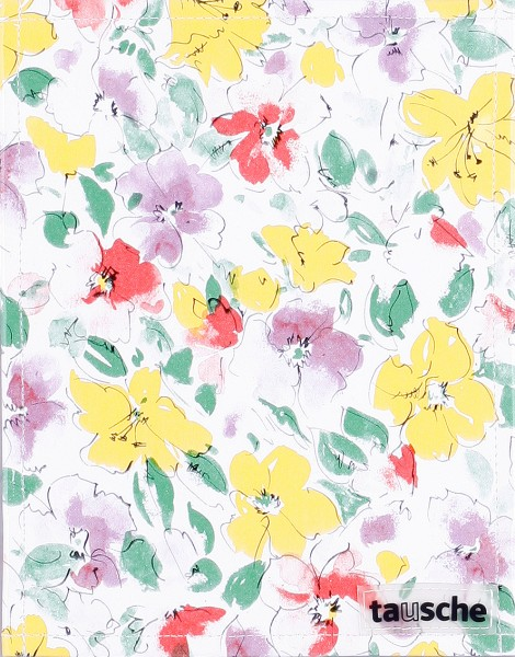 Deckel S - Wachstuch Blumen
