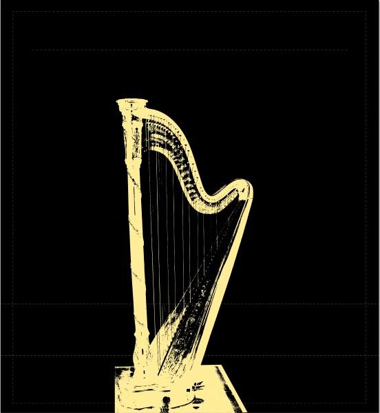Wechselcover für Umhängetasche - Harfe - schwarz/gold - Größe M