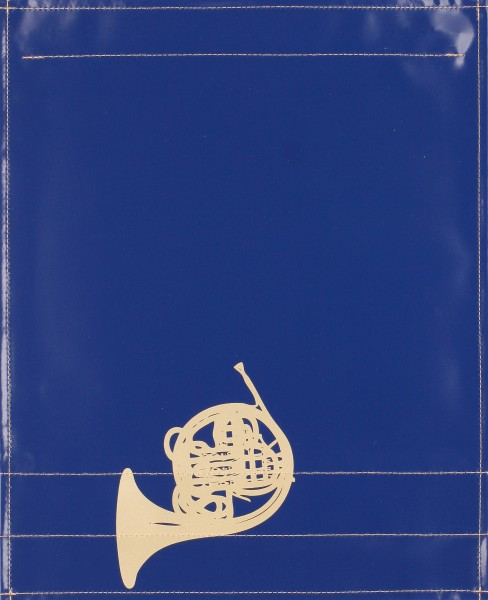 Interchangeable cover for music pocket - French horn - blue/gold - size L