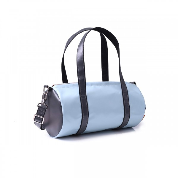 Hand/sports bag - round - truck tarpaulin - light blue/anthracite - 1