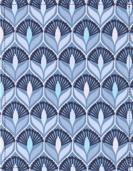 Wechseldeckel für Tasche - Art Deco Lilie - blau - Größe S