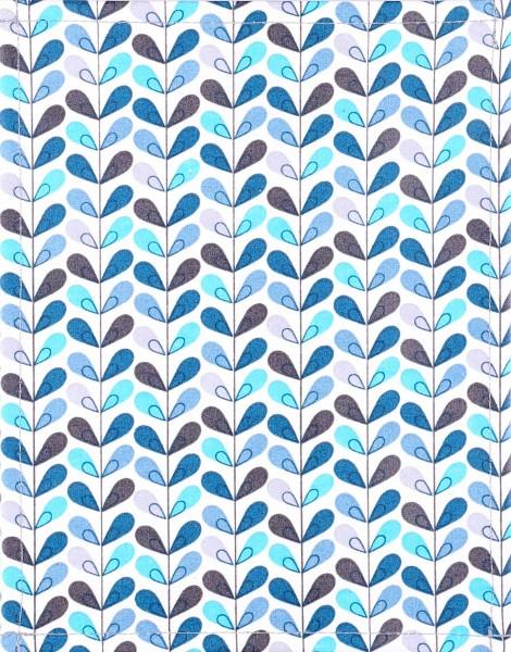 Wechseldeckel für Tasche - Blätterblau - weiß/blau - Größe S