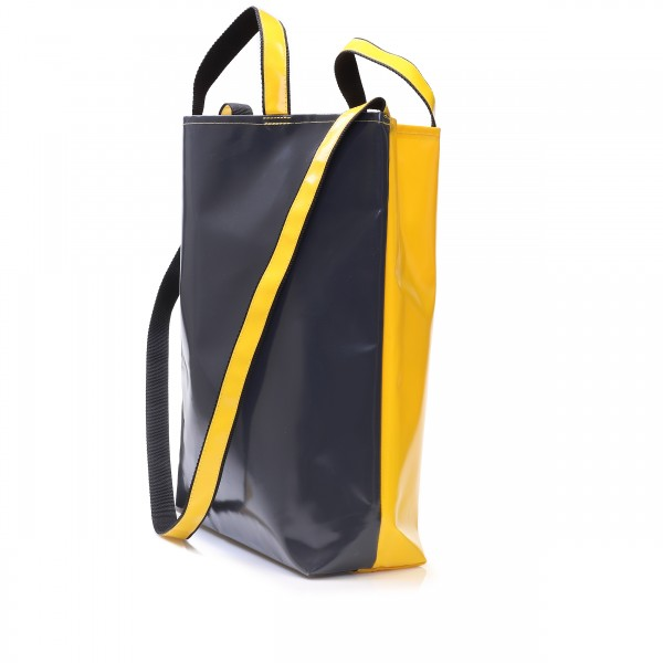 Shopping bag market barker made of yellow and grey tarpaulin with hand and shoulder strap