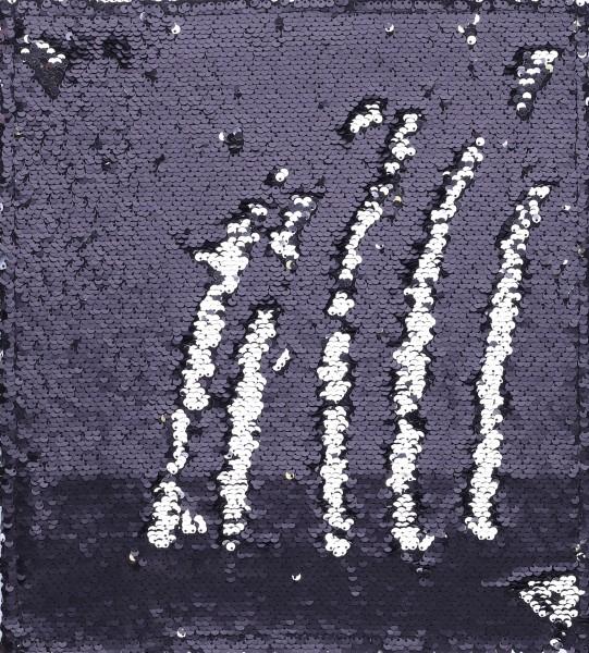 Deckel M - Paillette schwarz-silber