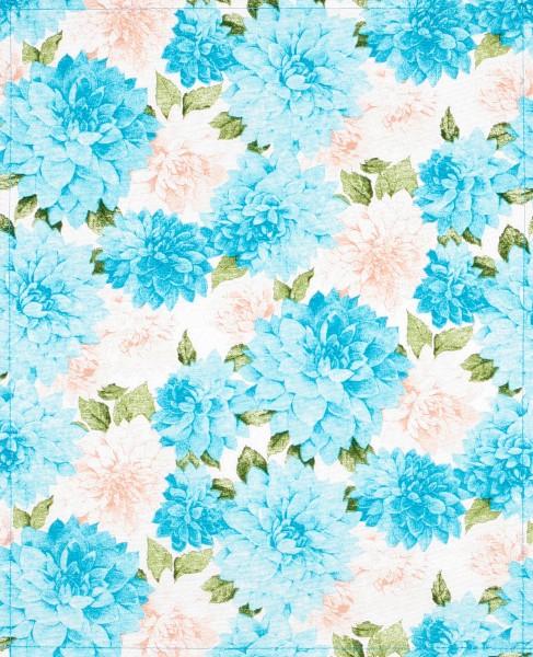 Wechselcover für Tasche - Chrysanthemen - weiß/blau - Größe L