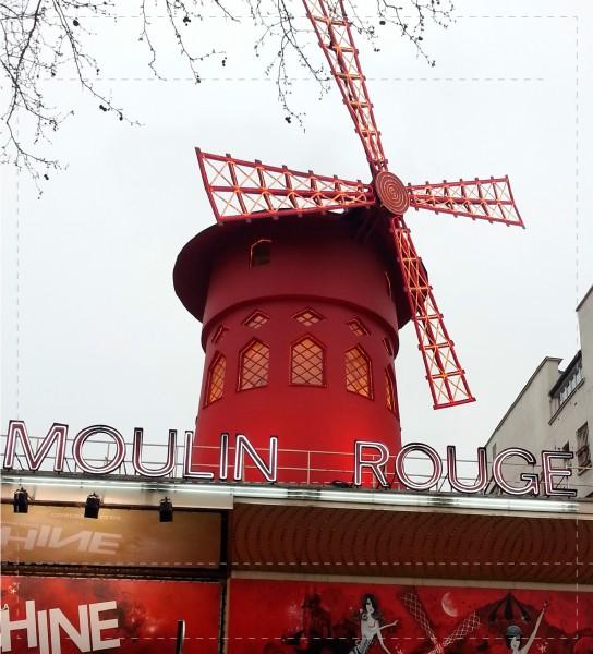 Taschendeckel mit dem Foto der Moulin Rouge in Paris
