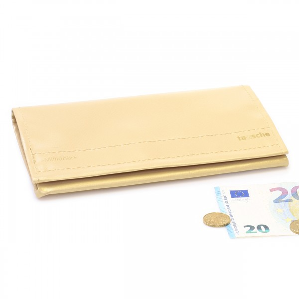 Large wallet made of golden truck tarpaulin