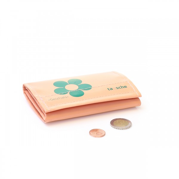 Salmon coloured wallet with prilflower