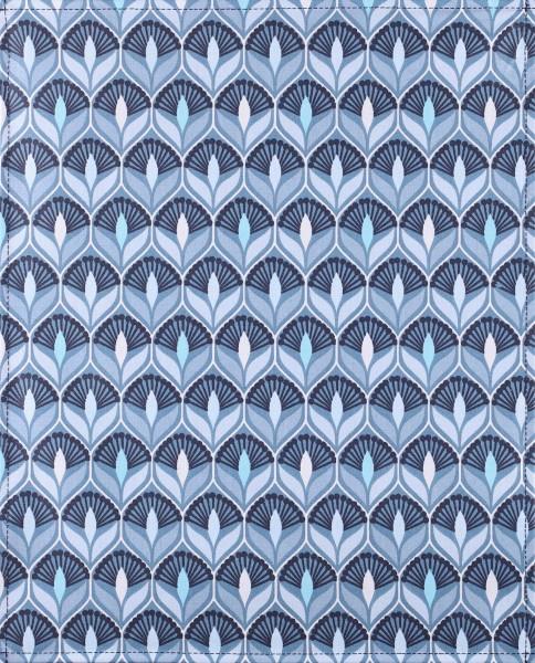 Wechseldeckel für Umhängetasche - Art Deco Lilie - blau/weiß - Größe L