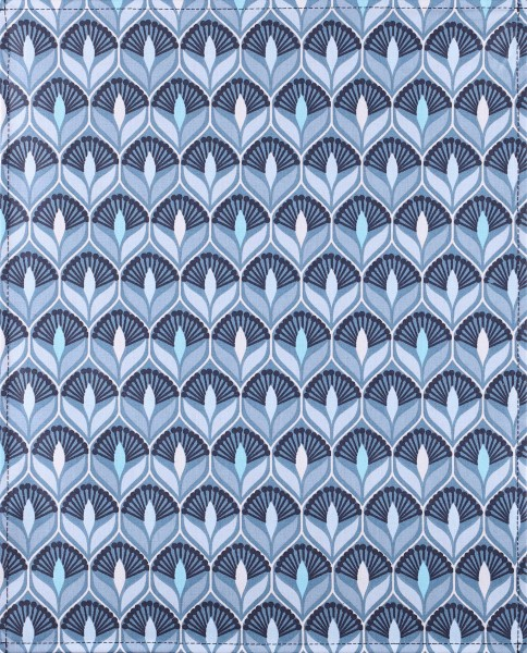 Exchangeable lid for shoulder bag - Art Deco Lily - blue/white - size L