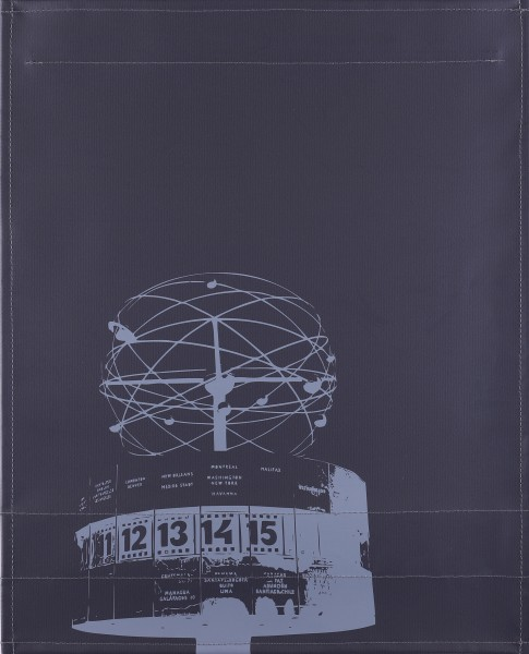 interchangeable lid for shoulder bag - world time clock Alex - black/grey - size L
