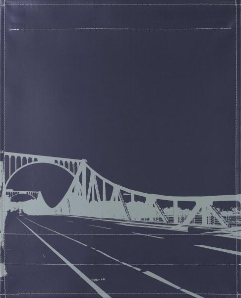 Wechseldeckel für Tasche - Glienicker Brücke - grau/grün - Größe L
