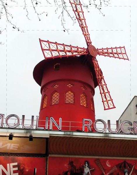 Exchangeable lid for bag/backpack - Moulin Rouge - red - size S