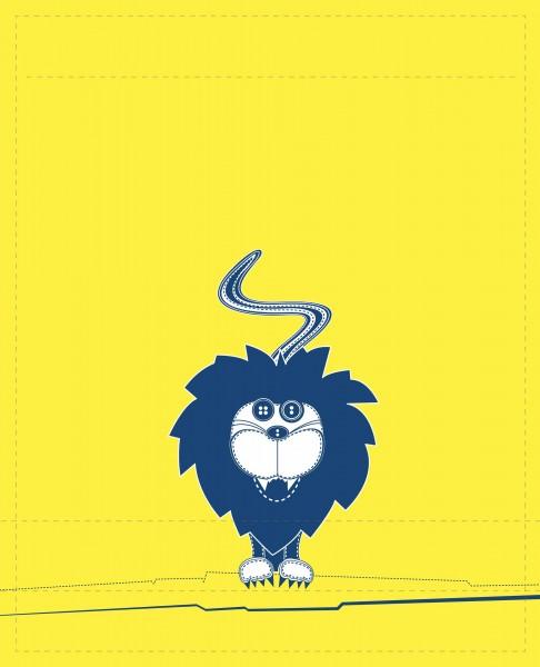 Exchangeable flap for shoulder bag - Lion - yellow/blue - size L