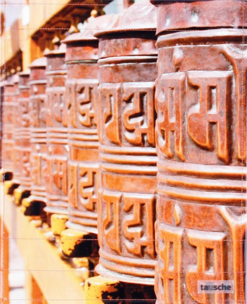 exchangeable flap for bag - prayer wheels - yellow/brown - size L
