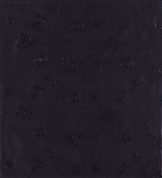 Flap M - Taffeta black leaves sequins