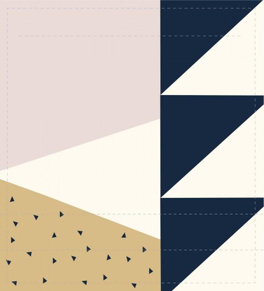 Wechseldeckel für Tasche - Dreiecke - beige/blau - Größe M