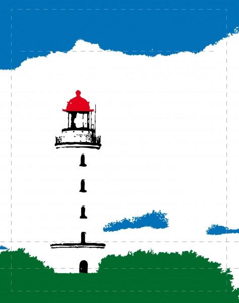 Exchangeable cover for handbag - Lighthouse Hiddensee - white/green/blue - size S