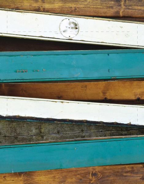 Wechseldeckel für Tasche - Farbige Latten - braun/türkis/weiß - Größe S