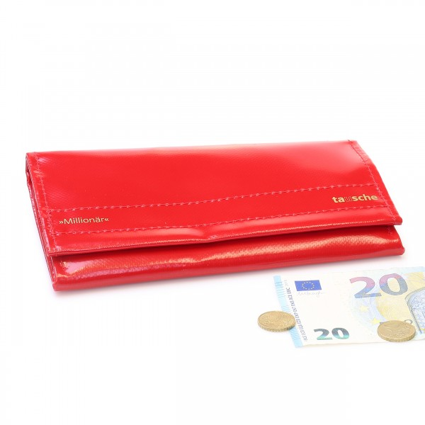 Large wallet made of red truck tarpaulin