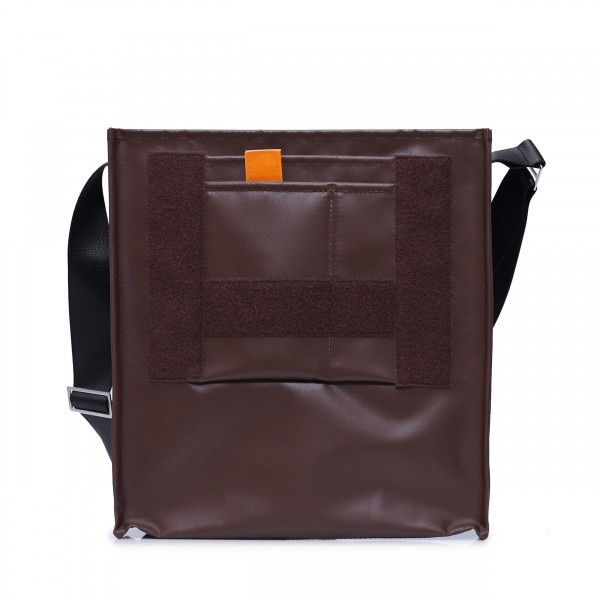 shoulder bag - customizable - tarpaulin - diplomat - dark brown - 1