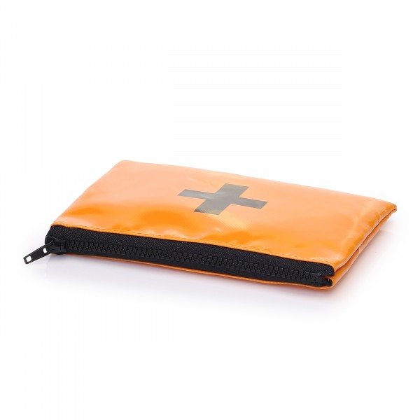 Nessessär aus orangefarbiger Plane mit schwarzem Siebdruck