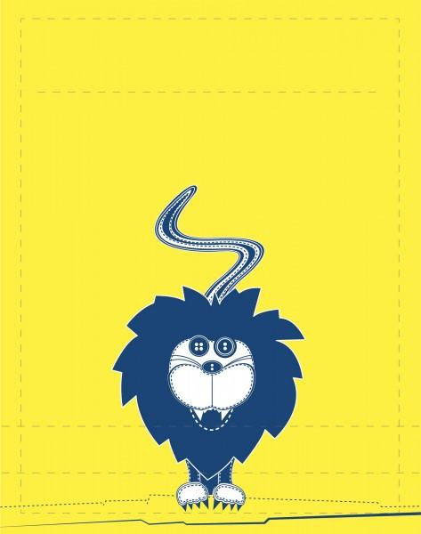 Wechselklappe für Tasche- Löwe - gelb/petrol - Größe S