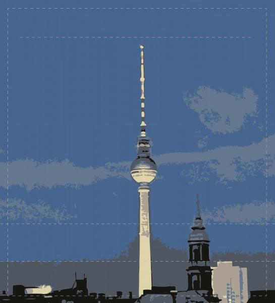 Wechselklappe für Umhängetasche - Fernsehturm bei Nacht - blau - Größe M