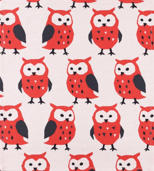 Exchangeable cover for handbag - Aves/owls - beige/red - size M