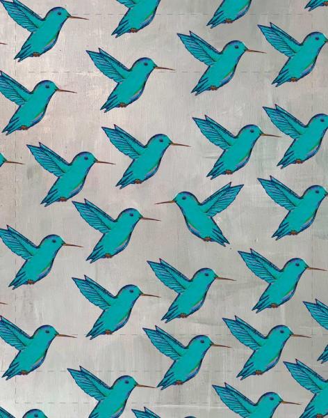 Wechseldeckel für Handtasche/Rucksack - Kolibri – grau/türkis - Größe S