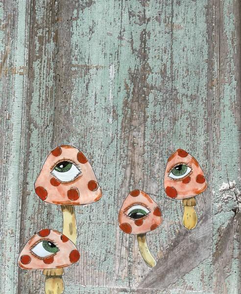 Interchangeable lid for shoulder bag - psycho mushrooms - green/red - size L