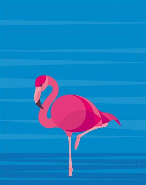Wechseldeckel für Tasche/Rucksack - Flamingo - blau/pink- Größe S