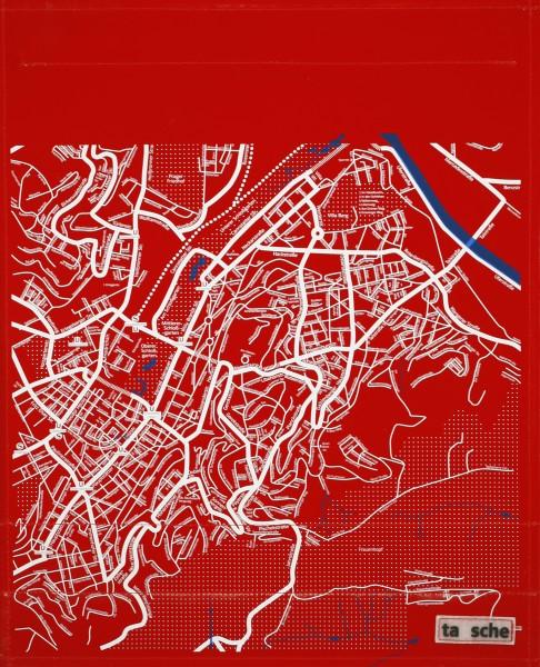 Deckel L - Stuttgart Stadtplan rot/weiß