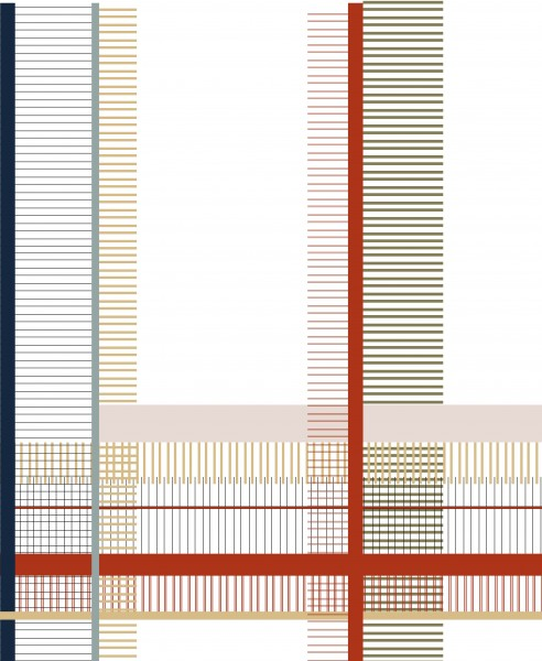 Interchangeable lid for shoulder bag - cross stripe - white/red - size L