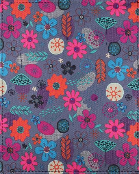 exchangeable flap for laptop bag - Naïve flower circle - blue/red - size L