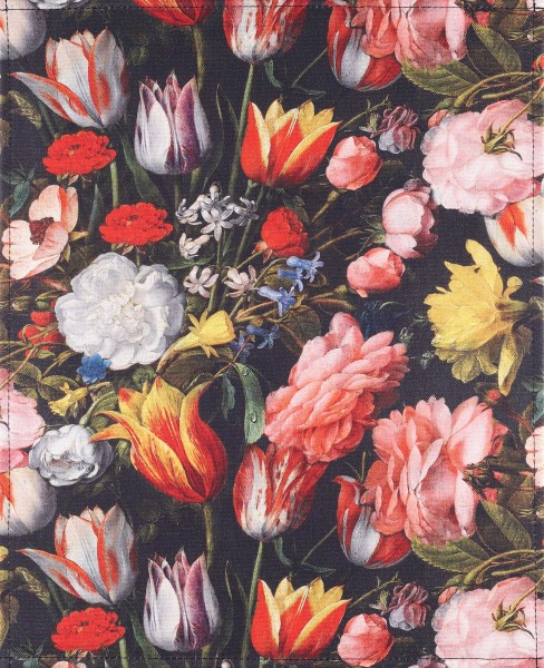 Exchangeable cover for messenger bag - tulips - black/multicoloured - size L