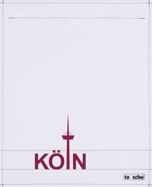 Wechseldeckel für Schultertasche - Köln - hellgrau/rot - Größe L