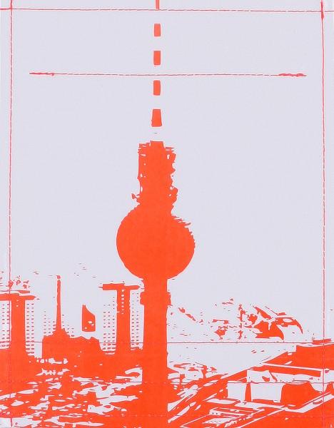 Deckel S - Stadtsilhouette Berlin grau/rot