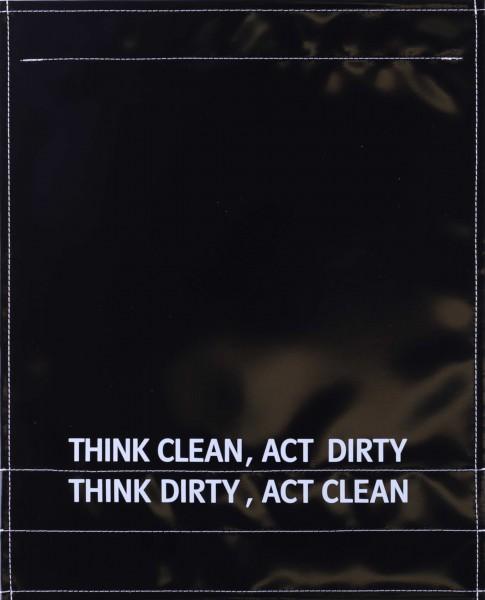 Wechselklappe für Umhängetasche - Think dirty - schwarz - Größe L