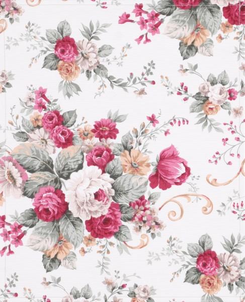 Wechselklappe für Umhängetasche - Rosengarten - weiß/pink - Größe L