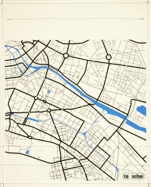 Deckel L - Stadtplan Ost elfenbein/schwarz