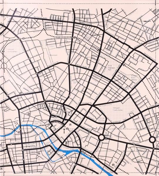 Interchangeable cover for shoulder bag - city map - ivory/black - size M