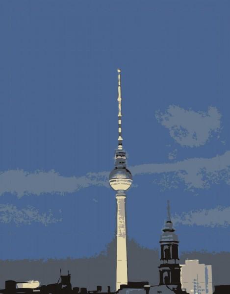 Wechselklappe für Umhängetasche - Fernsehturm bei Nacht - blau - Größe S