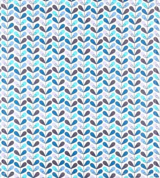 Wechseldeckel für Tasche - Blätterblau - weiß/blau - Größe M
