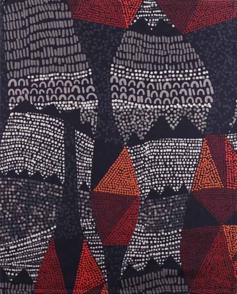 Wechselklappe für Tasche - Inka Dots - schwarz/rot - Größe L