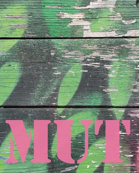Wechseldeckel für Umhängetasche - Mut – grün/pink - Größe L