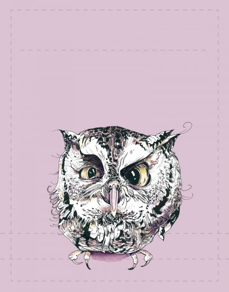 Exchangeable lid for bag/backpack - Owl - lilac/black - size S