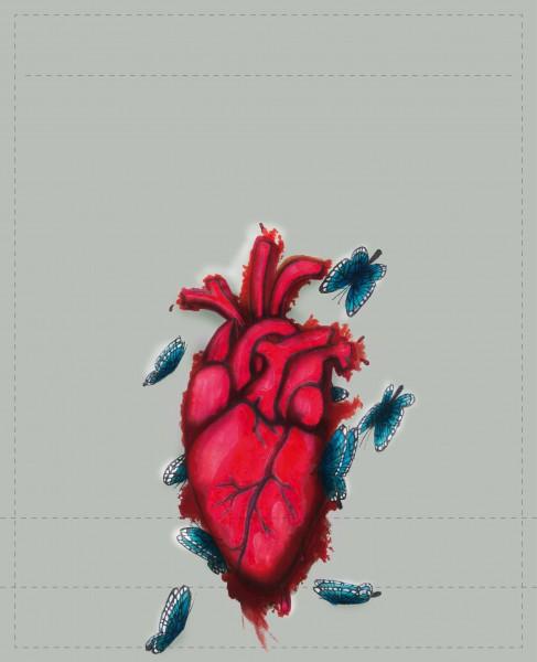 Wechselklappe für Umhängetasche - Herz - grau/rot/blau - Größe L