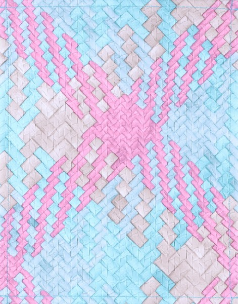 Exchangeable cover for bag - criss cross - light blue/pink - size S